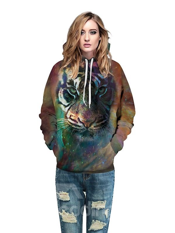 Long Sleeve Tiger Face Pattern 3D Painted Hoodie