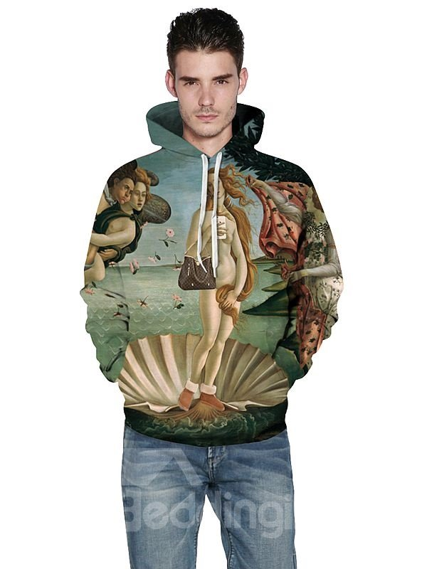 Unique Long Sleeve Oil Painting Pattern 3D Painted Hoodie
