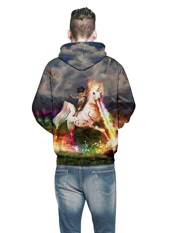 Cute Long Sleeve Horse and Cat Pattern 3D Painted Hoodie