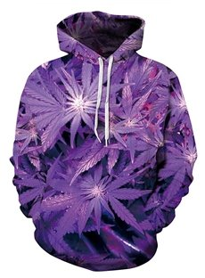 Modern Long Sleeve Purple Leaves Pattern 3D Painted Hoodie