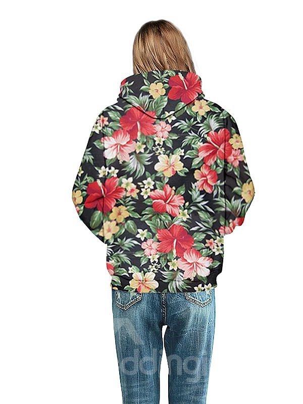 Pretty Long Sleeve Floral Pattern 3D Painted Hoodie