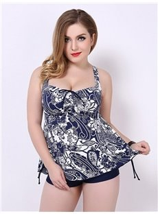 Female V-neck Vintage Flower Beach Wear with Falsies and Free Wire Top-up Tankini