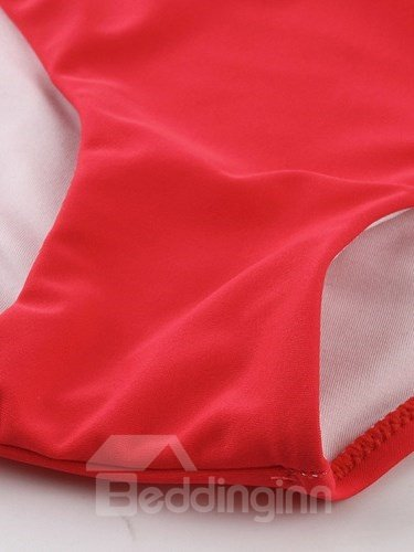 Female Solid Color Beach Swimwear with Falsies and Free Wire Bikini Set