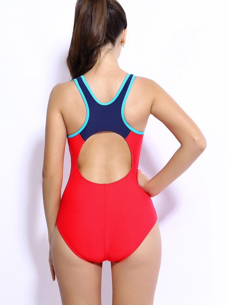 Female Solid Color Simple Style Free Wire Bra with Falsies Tankini