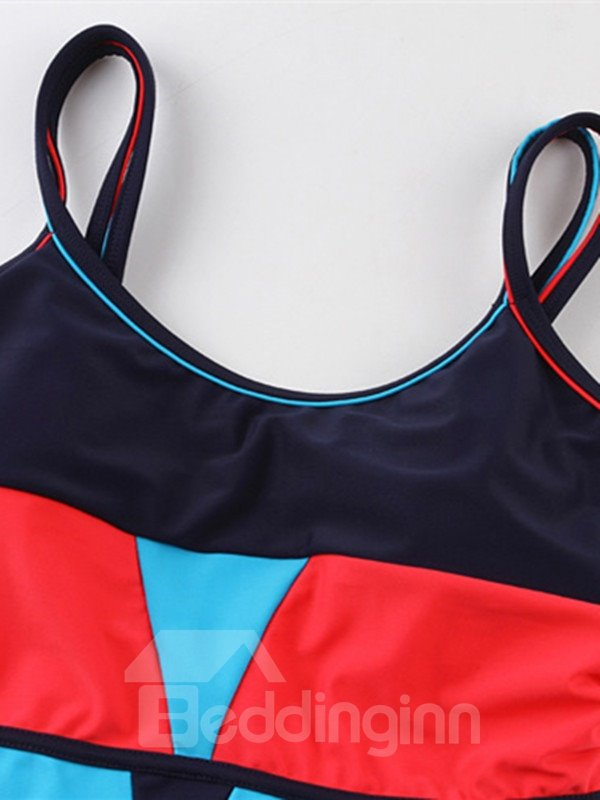 Female Contrast Color Simple U-Neck Swim Wear with Falsies and Free Wire Tankini