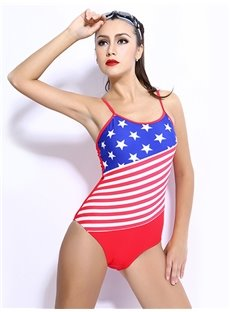 Female the Stars and Stripes Pattern Simple Style Free Wire Tankini