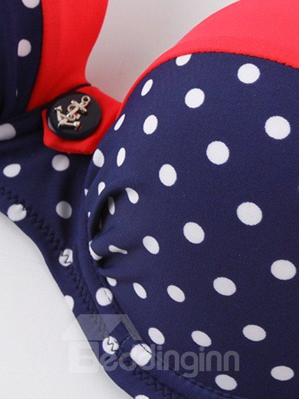 Female Polka Dots Push Up Bra with Free Wire and Falsies Bikini Set