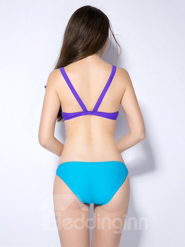 Female Bright Color Cute Free Wire Bra with Falsies Push-up Bikini Set