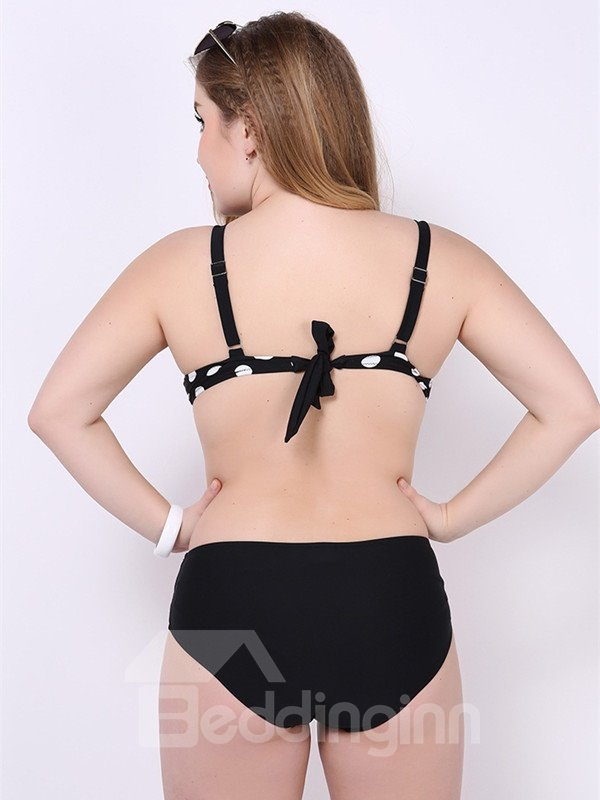 Female Deep-V Neck Plaid Free Wire Bra with Falsies Push-up Bikini Set