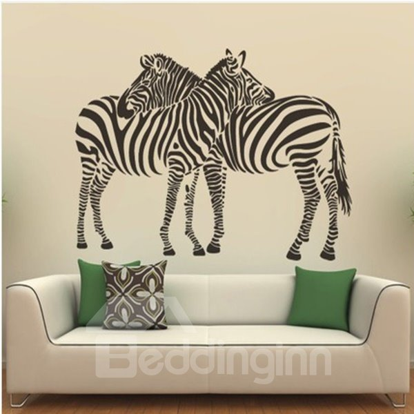 Simple Style Two Lovely Zebra Pattern Wall Stickers