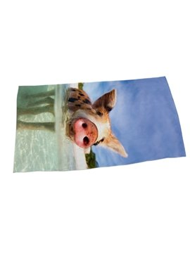 Lovely Pig in the Water 3D Printing Square Beach Towel & Bath Towel