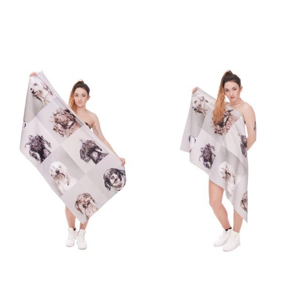 Cute Doggy 3D Printing Square Bath Towel & Beach Towel