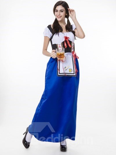 Charming Blue Skirt Maid Modeling Attractive Cosplay Costumes