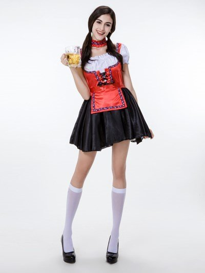 Sexy Tight Red Coat And Attractive Black Skirt Cosplay Costumes