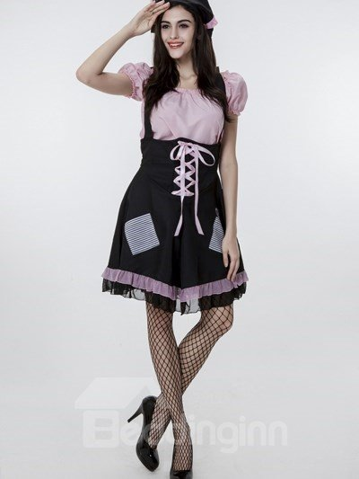 Lovely Maid Modeling With Big Bow-Knot Style Cosplay Costumes