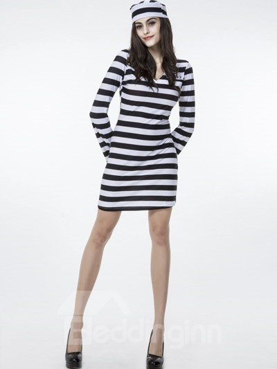 Female Prisoners Clothing With Creative Hat Cosplay Costumes