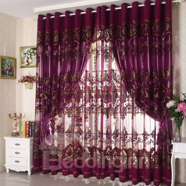 Classical Luxury Purple Blackout Custom Sheer Curtain