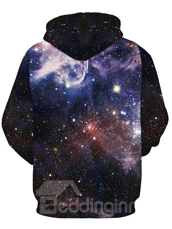 Fantastic Long Sleeve Starry Sky Pattern Black 3D Painted Hoodie