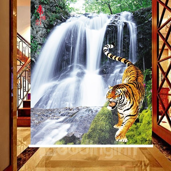 Wonderful Waterfall and Tiger Printing 3D Roller Shades