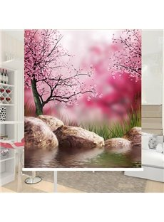 Romantic Pink Peach Blossom Printing 3D Roller Shades