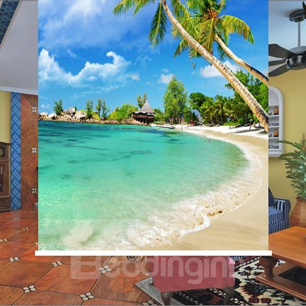 Peaceful Beach and Vivid Coconut Tree Printing 3D Roller Shades