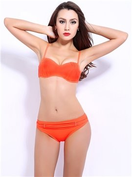 Female Solid Color Pleated Bra with Falsies and Free Wire Bikini Set