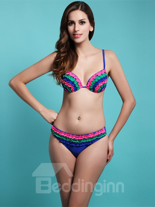 Female Vintage Style Pleated Bra with Free Wire and Falsies Sexy Bikini Set