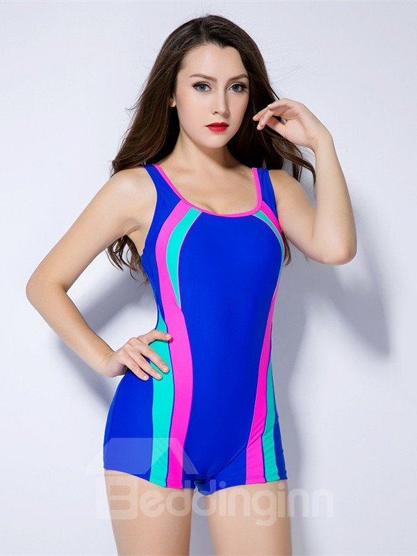Female Simple Sports Style Free Wire Tankini