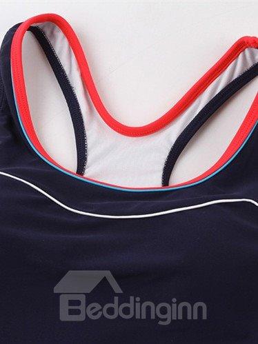 Female Simple Style U-Neck Free Wire Tankini