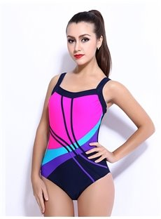Female Abstrack Colorful Strip Free Wire Tankini