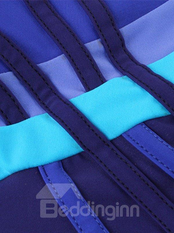 Female Abstrack Colorful Strip Free Wire Tankini