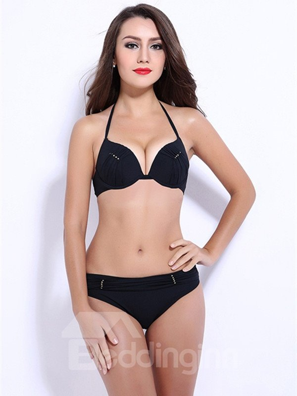 Female Solid Color Free Wire Bra with Sequins Sexy Push Up Bikini Set