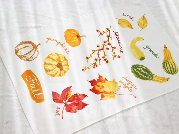 Colorful Pumpkin and Maple Leaf Printing Face & Hand Towel