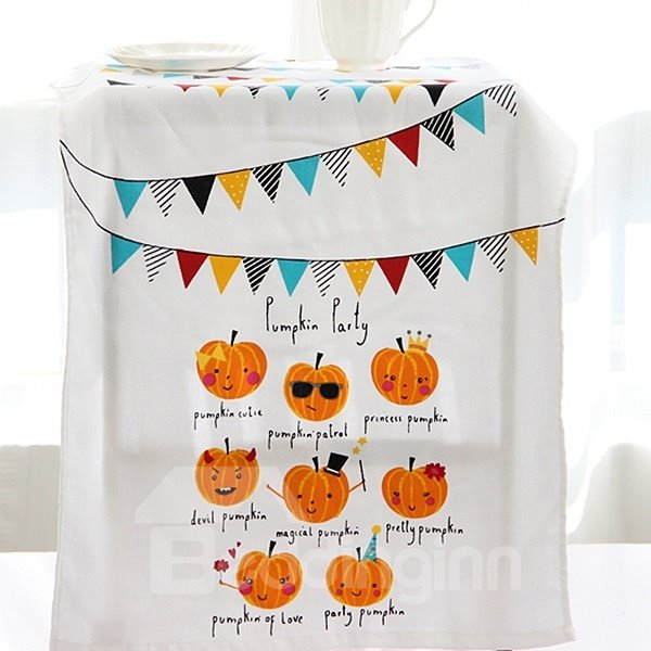 Colored Bunting and Funny Pumpkin Face Printing Face & Hand Towel