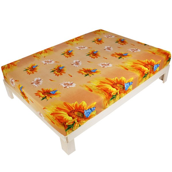 Adorable Sunflower and Butterfly Print 3D Fitted Sheet