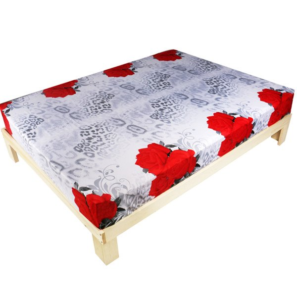 Elegant Red Rose With Leopard Printed Fitted Sheet