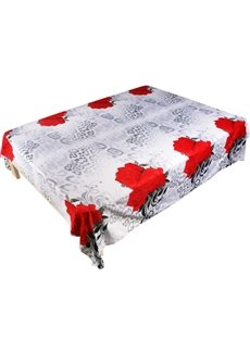 Unique 3D Red Rose Printed Flat Sheet