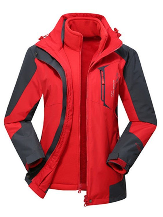 Male Bright Color Waterproof and Windproof Camping and Hiking Front Zipper Jacket
