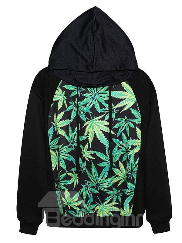 Long Sleeve Leaves Pattern Black 3D Painted Hoodie