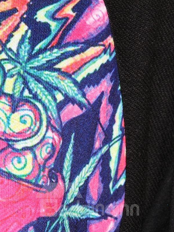 Long Sleeve Abstract Pattern Black 3D Painted Hoodie