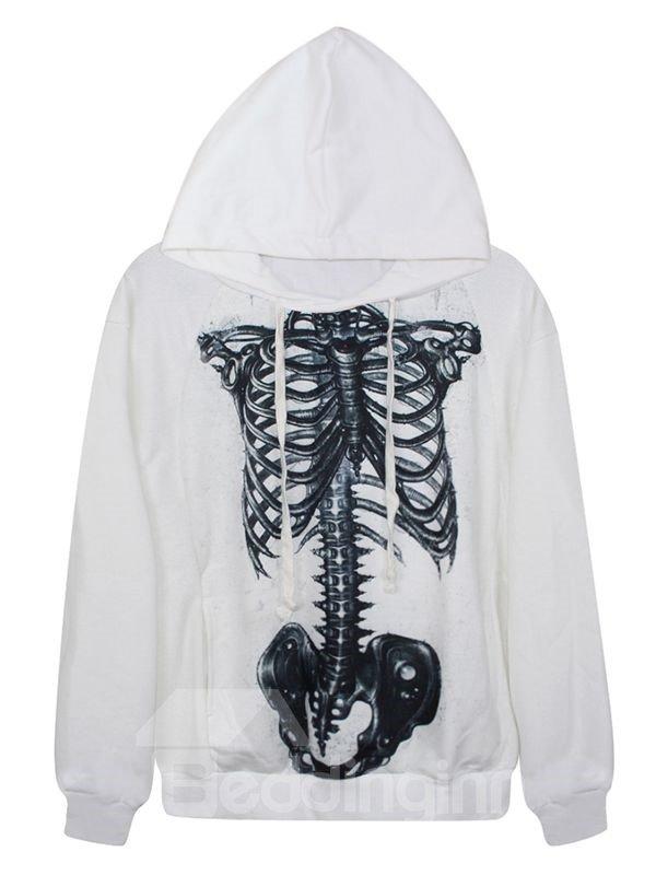 Halloween Long Sleeve Skeleton Pattern White 3D Painted Hoodie