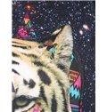 Super Long Sleeve Tiger Pattern Black 3D Painted Hoodie