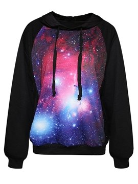 Popular Long Sleeve Starry Sky Pattern Black 3D Painted Hoodie