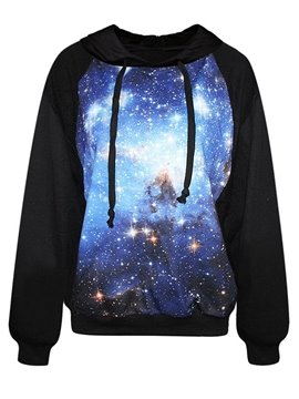 Fashion Long Sleeve Blue Galaxy Pattern Black 3D Painted Hoodie