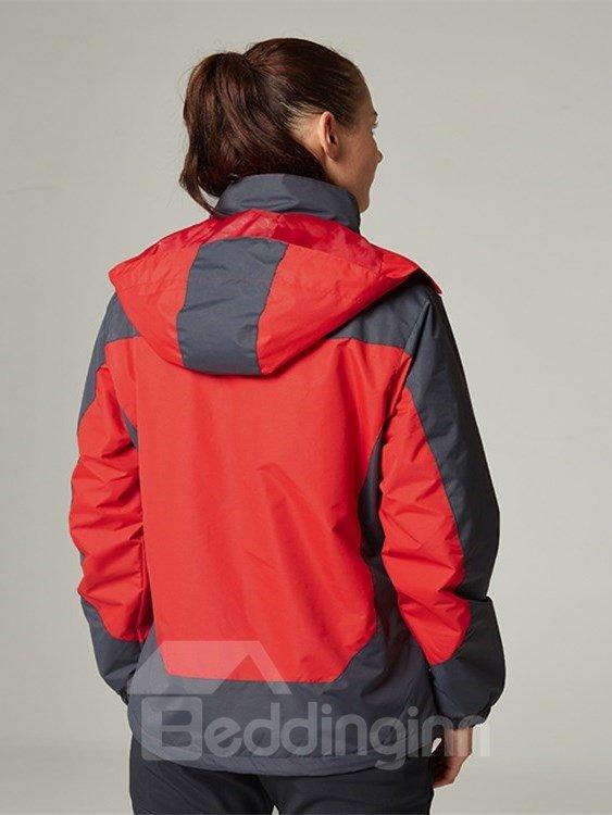 Female Color Block Outdoor Waterproof and Windproof 3 in 1 Fleece Lining Hiking Jacket