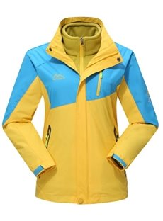 Female Bright Contrast Color Outdoor Windproof and Waterproof 3 in 1 Jacket