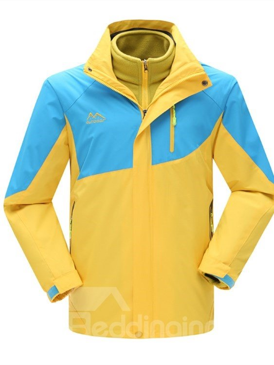 Male Contrast Color Outdoor Windproof and Waterproof 3 in 1 Front Zipper Warm Jacket