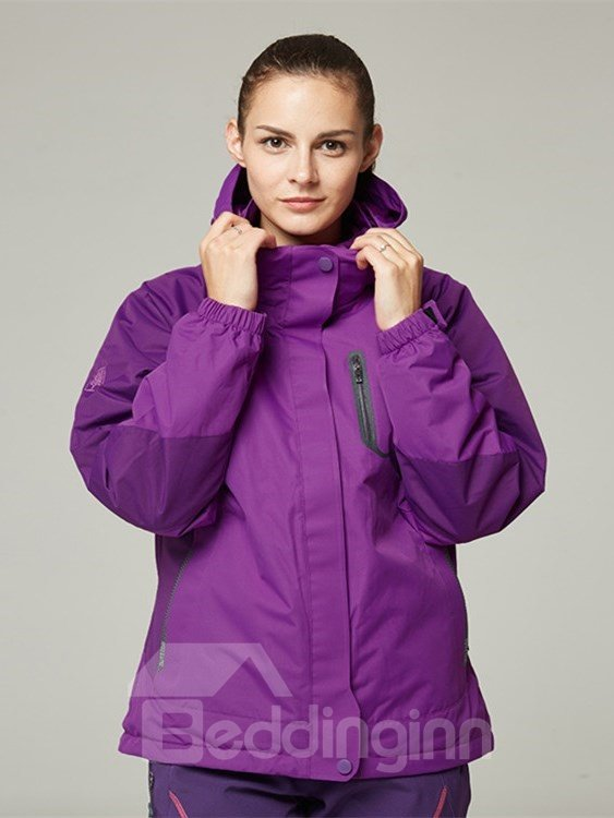 Female Outdoor Waterproof 3 in 1 with Fleece Lining Warm Camping and Hiking Jacket