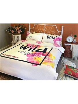 Charming Wild Rose Print 4-Piece Cotton Duvet Cover Sets