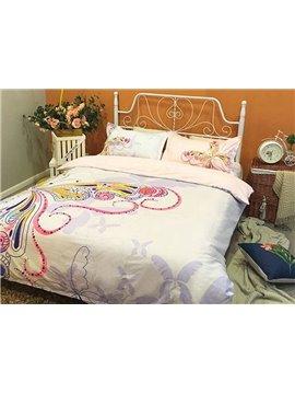 Luxury Butterfly Print 4-Piece Cotton Duvet Cover Sets